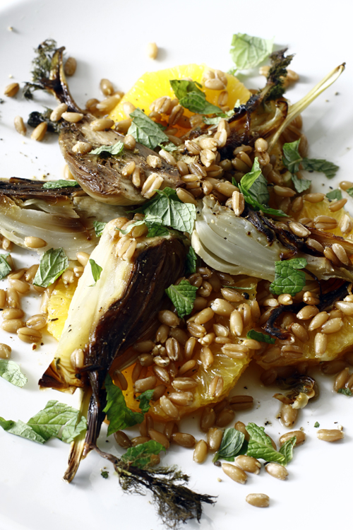 Orange fennel and spelt salad.