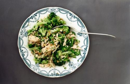 Salmon and broccoli salad.